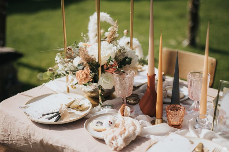 Wedding Table Decor with Colour Glass and Taper Candles