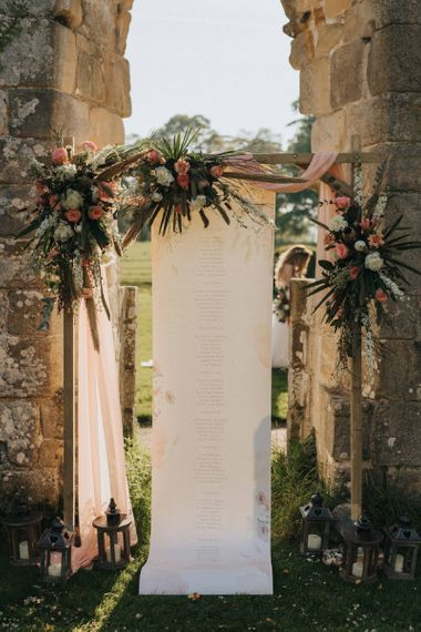 Wooden Frame and Dried Flower with Poster Table Plan