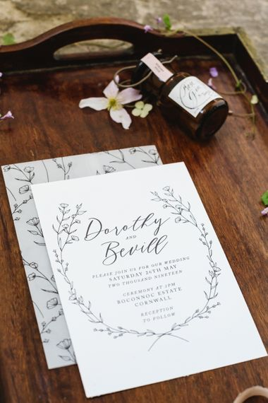 Sincerley May  Wedding Stationery | Timeless English Country Garden Inspiration at Boconnoc House and Estate in Cornwall, Styled by On Serpentine Shores | Debs Alexander Photography