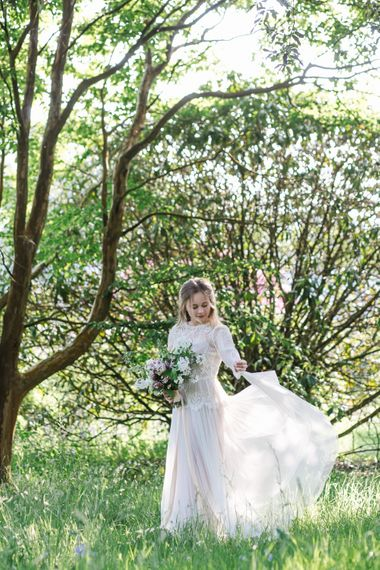 Bride in Rock The Frock Bridal Gown via The Wedding Hub | Timeless English Country Garden Inspiration at Boconnoc House and Estate in Cornwall, Styled by On Serpentine Shores | Debs Alexander Photography