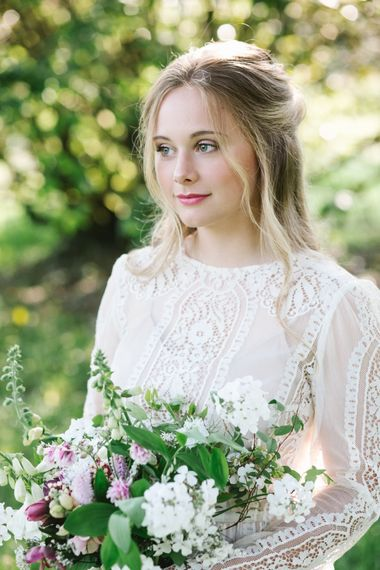 Beautiful Bride in Rock The Frock Bridal Gown via The Wedding Hub | Timeless English Country Garden Inspiration at Boconnoc House and Estate in Cornwall, Styled by On Serpentine Shores | Debs Alexander Photography