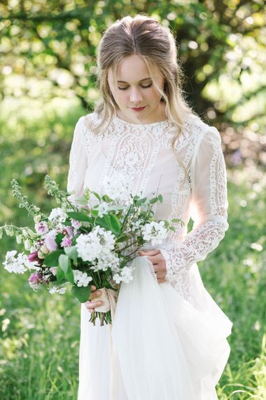 Beautiful Bride in Rock The Frock Bridal Gown via The Wedding Hub | The Garden Gate Flower Company Wedding Bouquet | Timeless English Country Garden Inspiration at Boconnoc House and Estate in Cornwall, Styled by On Serpentine Shores | Debs Alexander Photography