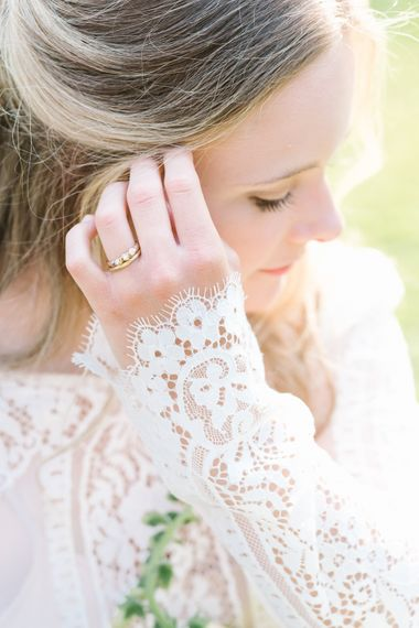Beautiful Bride in Lace Long Sleeve Rock The Frock Bridal Gown via The Wedding Hub | Emily Nixon  Wedding Jewellery | Timeless English Country Garden Inspiration at Boconnoc House and Estate in Cornwall, Styled by On Serpentine Shores | Debs Alexander Photography