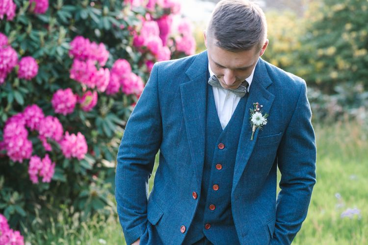 Groom in Navy Blue Wool Three Piece Suit by The Vintage Suit Hire Company via The Wedding Hub | Timeless English Country Garden Inspiration at Boconnoc House and Estate in Cornwall, Styled by On Serpentine Shores | Debs Alexander Photography