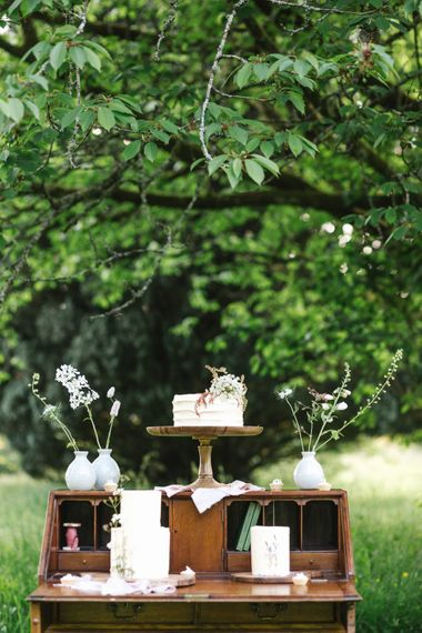Elegant Peboryon Wedding Cakes on a Vintage Dresser | Timeless English Country Garden Inspiration at Boconnoc House and Estate in Cornwall, Styled by On Serpentine Shores | Debs Alexander Photography