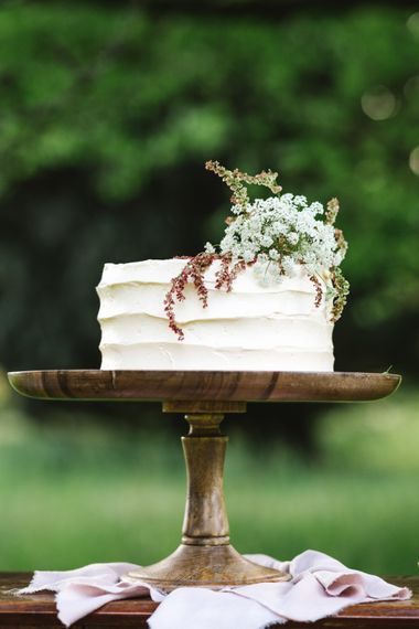 Elegant Single Tier Peboryon Wedding Cake | Timeless English Country Garden Inspiration at Boconnoc House and Estate in Cornwall, Styled by On Serpentine Shores | Debs Alexander Photography