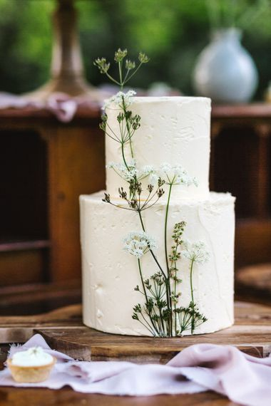 Elegant Two Tier Peboryon Wedding Cake | Timeless English Country Garden Inspiration at Boconnoc House and Estate in Cornwall, Styled by On Serpentine Shores | Debs Alexander Photography