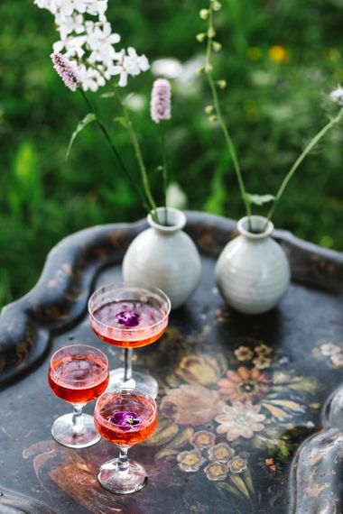 Tinkture 'Rose' Gin Station | Timeless English Country Garden Inspiration at Boconnoc House and Estate in Cornwall, Styled by On Serpentine Shores | Debs Alexander Photography