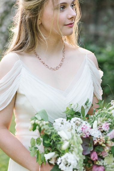 Bride in Bardot Shoulder Rock The Frock Bridal Gown via The Wedding Hub | Timeless English Country Garden Inspiration at Boconnoc House and Estate in Cornwall, Styled by On Serpentine Shores | Debs Alexander Photography