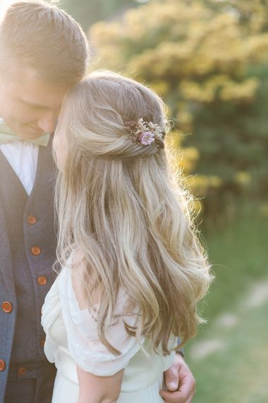 Bridal Hair Half Up Half Down Do by Ro Hair | Groom in Navy Blue Wool Three Piece Suit The Vintage Suit Hire Company | Timeless English Country Garden Inspiration at Boconnoc House and Estate in Cornwall, Styled by On Serpentine Shores | Debs Alexander Photography