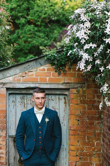 Groom in Navy Blue Wool Three Piece Suit The Vintage Suit Hire Company via The Wedding Hub | Timeless English Country Garden Inspiration at Boconnoc House and Estate in Cornwall, Styled by On Serpentine Shores | Debs Alexander Photography