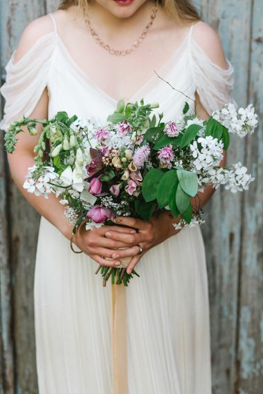 The Garden Gate Flower Company Wedding Bouquet | Bride in Bardot Shoulder Rock The Frock Bridal Gown via The Wedding Hub | Timeless English Country Garden Inspiration at Boconnoc House and Estate in Cornwall, Styled by On Serpentine Shores | Debs Alexander Photography