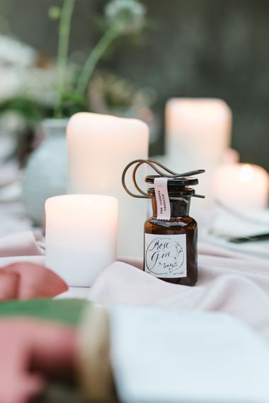 Tinkature Rose Gin Wedding Favour | Timeless English Country Garden Inspiration at Boconnoc House and Estate in Cornwall, Styled by On Serpentine Shores | Debs Alexander Photography
