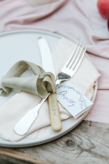 Cutlery Tied in Ribbon | Timeless English Country Garden Inspiration at Boconnoc House and Estate in Cornwall, Styled by On Serpentine Shores | Debs Alexander Photography