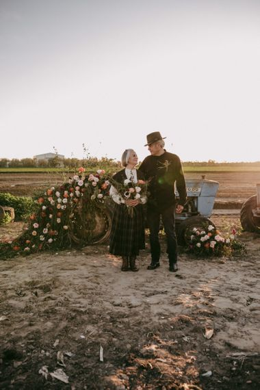 Flower covered tractor for vow renewal