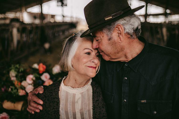 Intimate portrait of couple celebrating their golden wedding anniversary