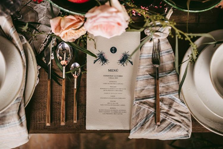 Menu card at intimate tablescape