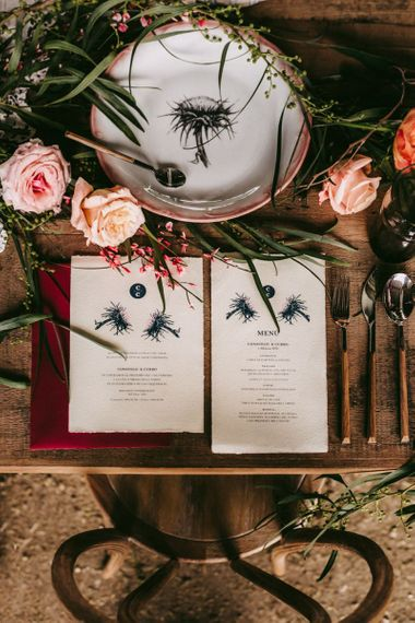 Matching plate and menu cards for golden wedding anniversary