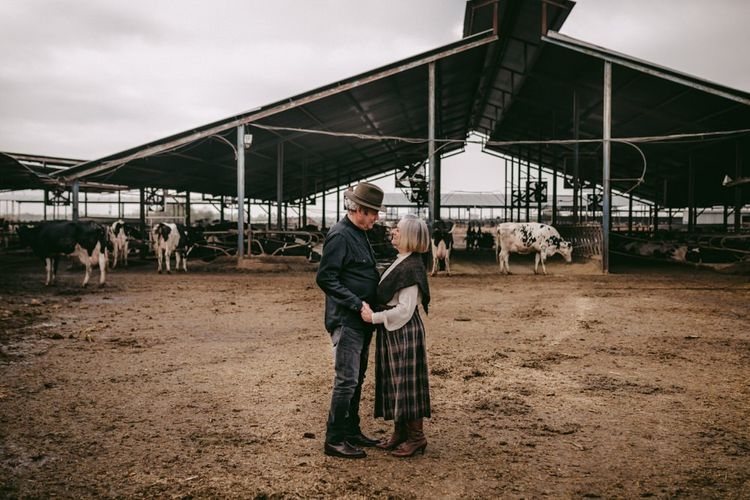 couple celebrating their golden wedding anniversary at their cattle shed