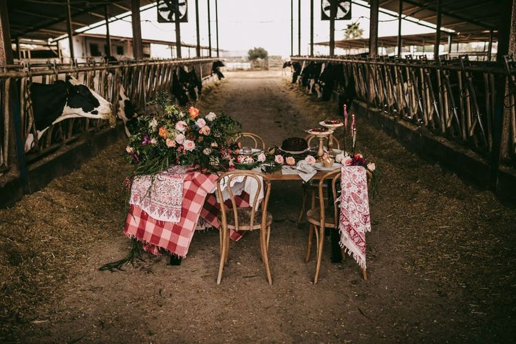 Dessert table in a cattle barn