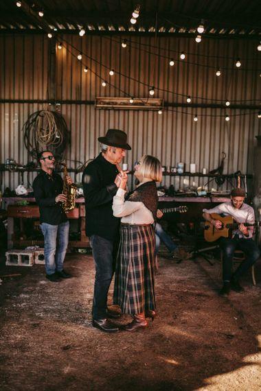 Couple dancing at golden wedding anniversary