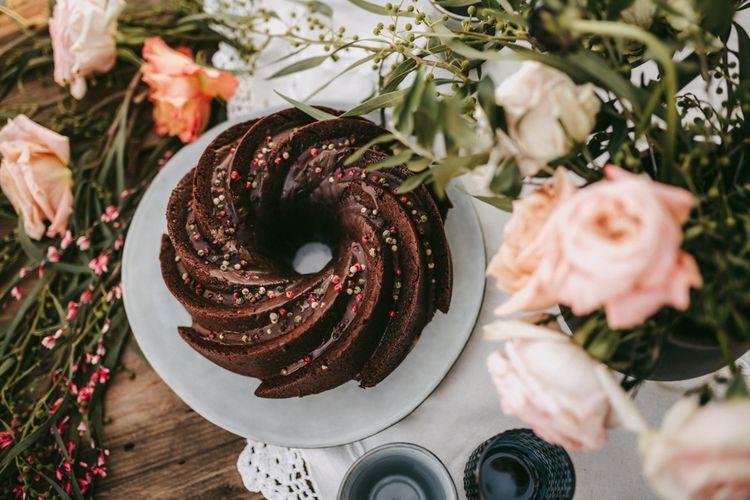 chocolate swirl celebration cake