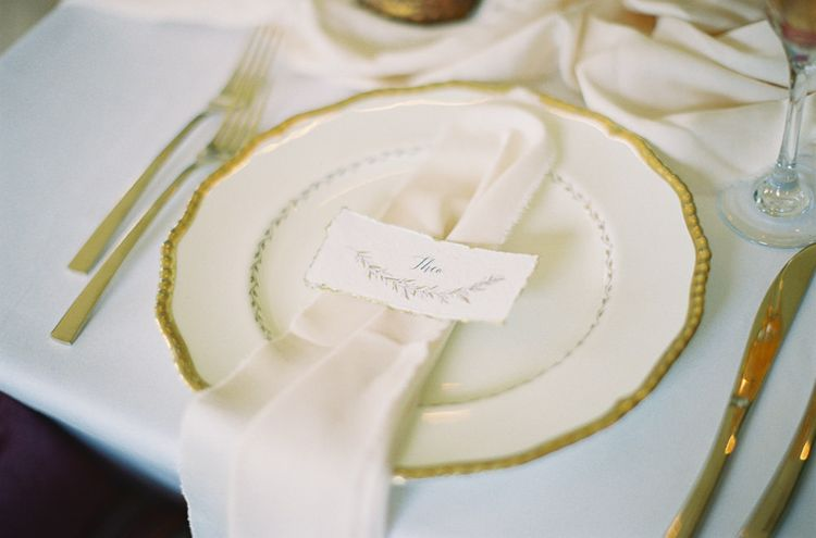 Gold plates from Elsie Florence | Stationery by Samantha Geen Designs | Fairytale Opulence at Charlton House, Somerset | Fine Art Film Photography by Liz Baker | Luxe Florist Fleur Provocateur.