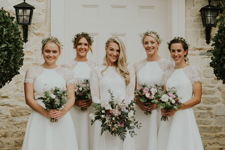 Bride In Grace Loves Lace // Bridesmaids In White Dresses // Image by Virginia Photography
