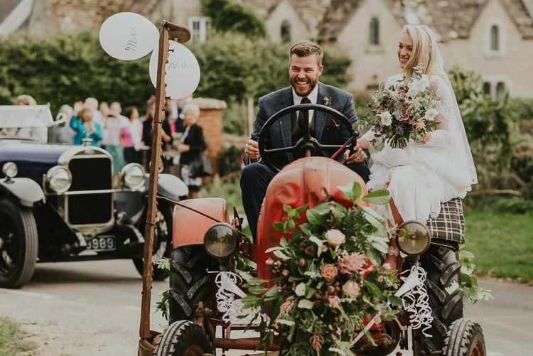 Vintage Porsche Tractor // Bride In Grace Loves Lace // Image By Virginia Photography