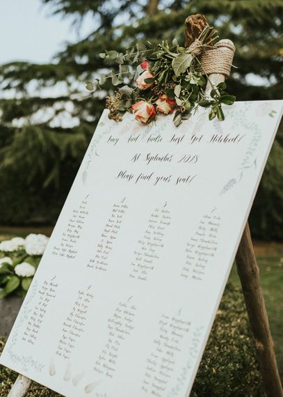 Table Plan For Wedding // Family Home Wedding In The Cotswolds With Vintage Porsche Tractor Bride In Grace Loves Lace Bridesmaids In White Dresses Images Virginia Photography