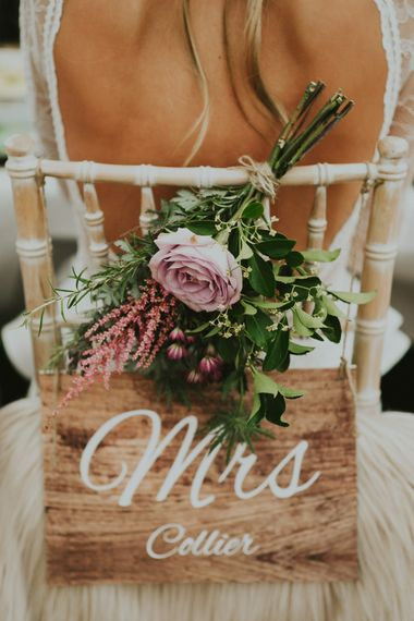 Mrs & Mr Sign For Wedding Chairs // Family Home Wedding In The Cotswolds With Vintage Porsche Tractor Bride In Grace Loves Lace Bridesmaids In White Dresses Images Virginia Photography