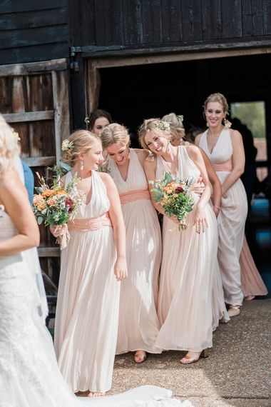 Bridesmaids In Blush Pink // Macrame Ceremony Backdrop Rustic Hippie Wedding The Great Barn Dream Catchers And Oversized Florals Bride In Essence Of Australia Images Kathryn Hopkins