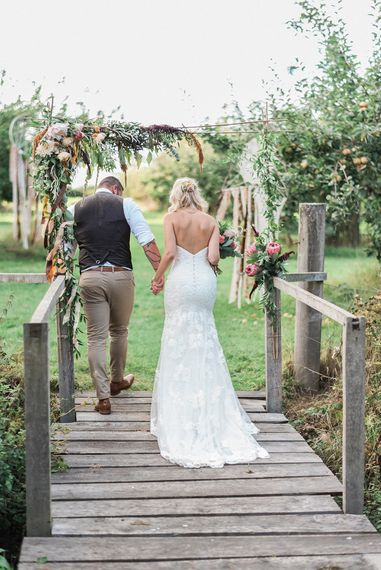 Rustic Wedding // Macrame Ceremony Backdrop Rustic Hippie Wedding The Great Barn Dream Catchers And Oversized Florals Bride In Essence Of Australia Images Kathryn Hopkins