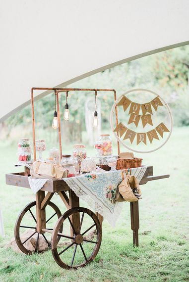 Sweetie Cart For Wedding // Macrame Ceremony Backdrop Rustic Hippie Wedding The Great Barn Dream Catchers And Oversized Florals Bride In Essence Of Australia Images Kathryn Hopkins