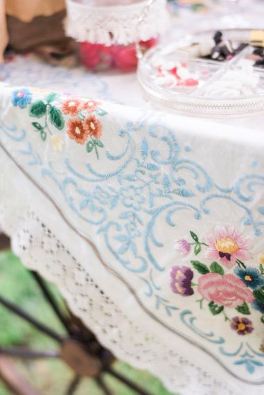 Vintage Embroidered Table Cloth For Wedding Decor // Macrame Ceremony Backdrop Rustic Hippie Wedding The Great Barn Dream Catchers And Oversized Florals Bride In Essence Of Australia Images Kathryn Hopkins