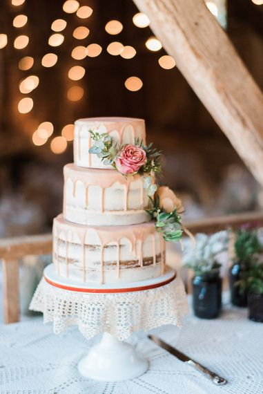 Wedding Cake With Drip Icing // Macrame Ceremony Backdrop Rustic Hippie Wedding The Great Barn Dream Catchers And Oversized Florals Bride In Essence Of Australia Images Kathryn Hopkins