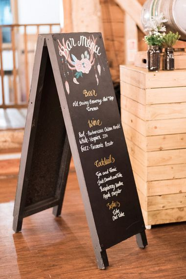 Chalkboard Sign For Wedding // Macrame Ceremony Backdrop Rustic Hippie Wedding The Great Barn Dream Catchers And Oversized Florals Bride In Essence Of Australia Images Kathryn Hopkins