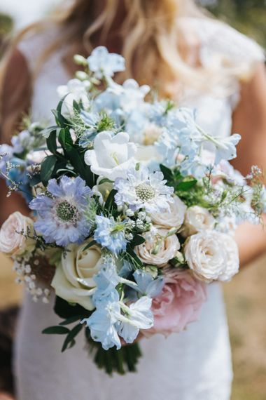 Pastel Blue and White Wedding Bouquet