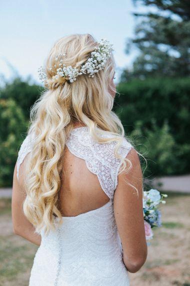 Bride in Sophia Tolli Galene Wedding Dress with Keyhole Back Detail and Half Half Down Wavy Wedding Hair