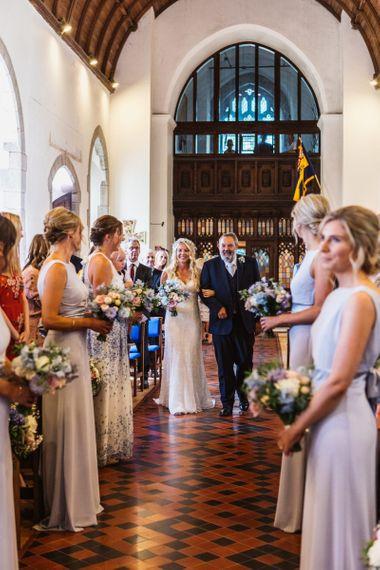 Church Wedding Ceremony Bridal Entrance in Sophia Tolli Galene Wedding Dress