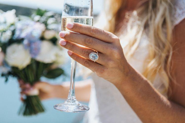 Aquamarine and Diamond Engagement Ring