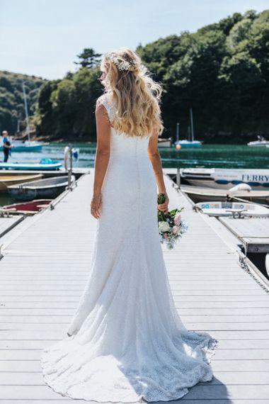 Bride in Sophia Tolli Galene Wedding Dress Standing on the Dock