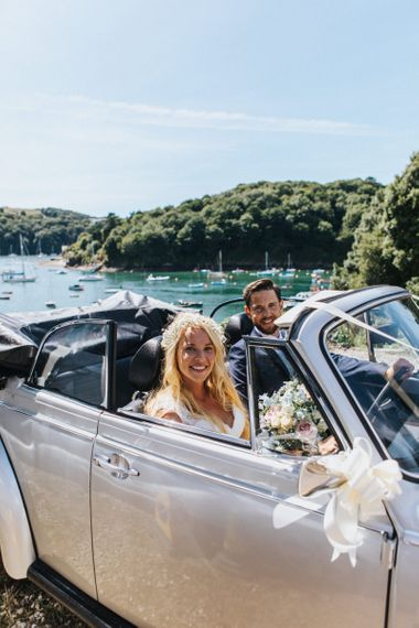 Bride and Groom in Convertible VW Transport