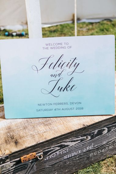 Blue Ombre Wedding Welcome Sign