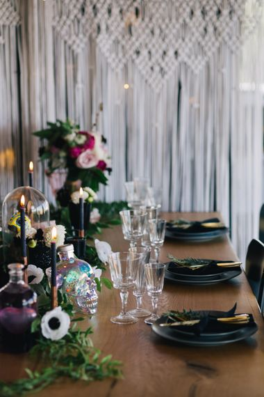 Festival Wedding Styling With Charcoal Grey Plates And Gold Details // Authentic Festival Weddings At In The Wyldes Wedding Venue Site With Stage, Bar And Camping Area For Ready-to-go Festival Wedding
