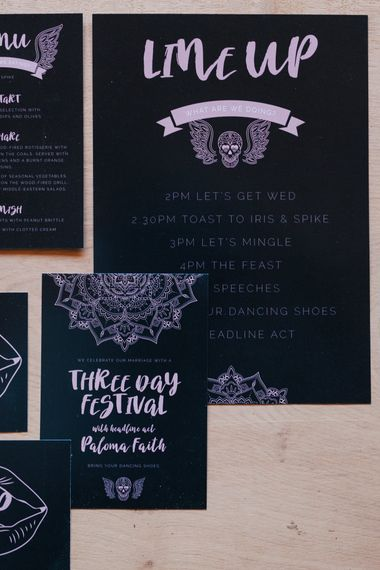 Black And Pink Wedding Stationery Suite // Authentic Festival Weddings At In The Wyldes Wedding Venue Site With Stage, Bar And Camping Area For Ready-to-go Festival Wedding