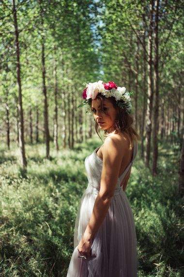 Bride In Floral Crown // Authentic Festival Weddings At In The Wyldes Wedding Venue Site With Stage, Bar And Camping Area For Ready-to-go Festival Wedding