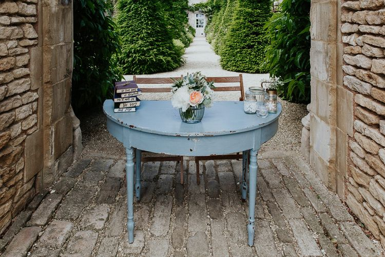 Shabby Chic Blue Outdoor Ceremony Table