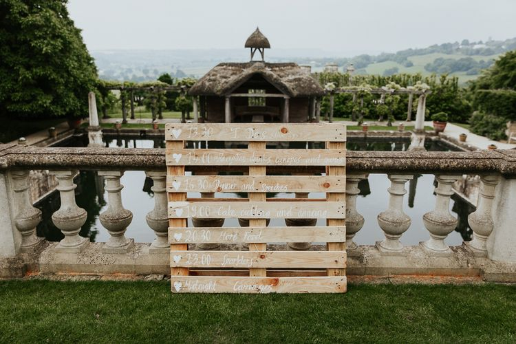 Wooden Pallet Order of The Day Wedding Sign