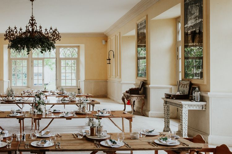 Rustic Reception at Euridge Manor with Wooden Tables and Greenery Table Runners